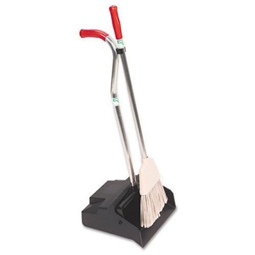 Unger Ergo Dustpan [with Broom] - Aluminum Handle - Black Silver Redhandle