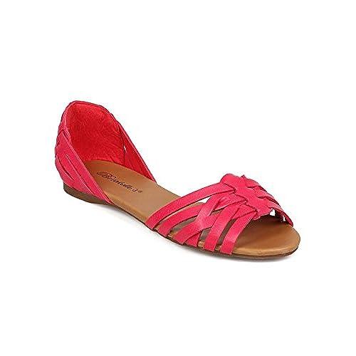 Breckelle's EG34 Women Leatherette Peep Toe D'Orsay Woven Fisherman Flat - Hot Pink hot sale