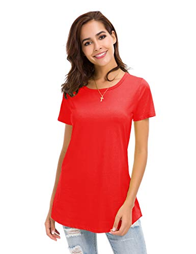 - MSHING Women's Short Sleeve Tunic Tops Loose Casual T-Shirt Blouse (Medium, Red)