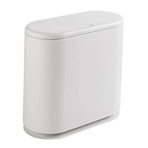 PENGKE Slim Plastic Trash Can 2.4 Gallon Garbage Can with Press Top Lid,White Modern Waste Basket for Bathroom,Living Room,Office and Kitchen