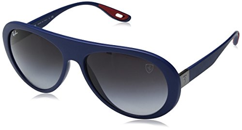 Ray-Ban Men's RB4310M Scuderia Ferrari Collection Aviator Sunglasses, Matte Dark Blue/Grey Gradient, 59 mm ()
