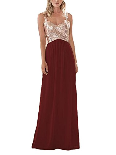 Firose Women's Sequined Sweetheart Backless Long Prom Bridesmaid Dress 14 RoseGold/Burgundy