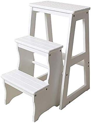 NYDZDM Escalera de Tres Niveles Escalera de heces Escalera de Cocina de Madera Maciza Taburete Estantes Plegables Multifunción Escalera Plegable Silla: Amazon.es: Hogar