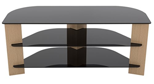 AVF FS1100VAROB-A Varano TV Stand with Glass Shelves for TVs up to 55-Inch, Oak and Black - Tv Oak Wood Technology Stand