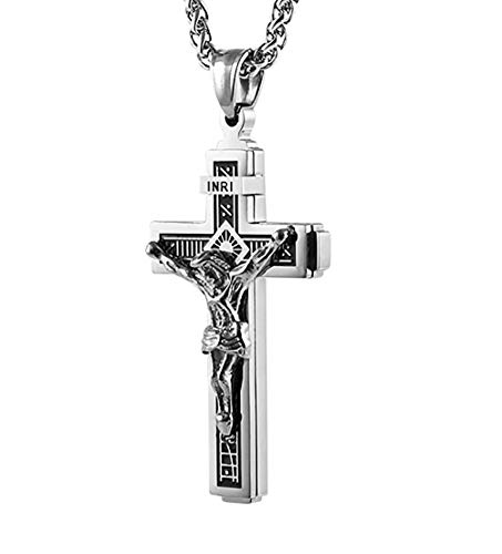 "HZMAN Catholic Jesus Christ on INRI Cross Crucifix Silver Tone Stainless Steel Pendant Necklace 24"" Chain"