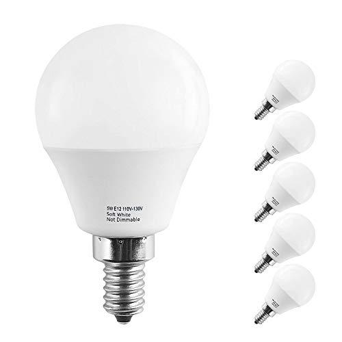 Lakes E12 LED Bulbs, 5W Led Candelabra Bulb, (40W Incandescent Equivalent), 450lm, Soft White 3000K, G14 Globe Bulbs(Pack of 6)