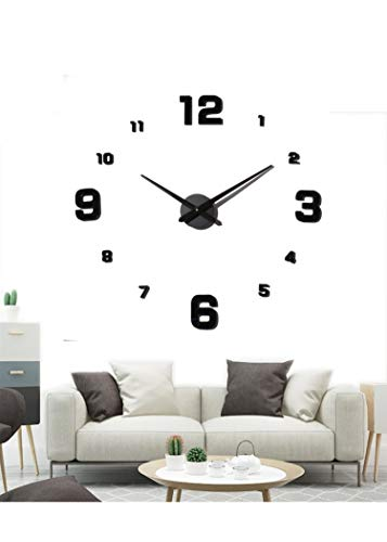 EONPOW Large Frameless DIY Wall Clock, 3D Wall Clock Mute Mirror Stickers (Diy Clock)