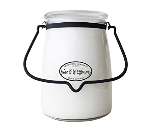 - Milkhouse Candle Creamery Butter Jar Candle, Lilac and Wildflowers, 22-Ounce