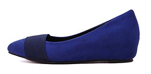 Sfnld Dames Sleehak Puntige Neus Laag Uitgesneden Schoenen Blauw