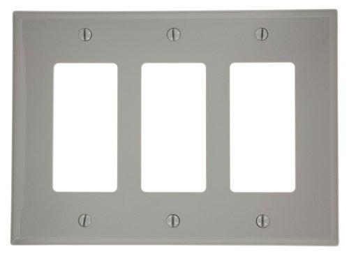 Nylon Gang Decora 3 Leviton (Leviton PJ263-GY 3-Gang Decora/GFCI Wallplate, Midway Size, Gray)