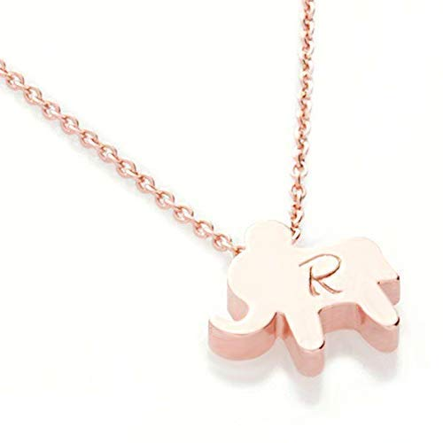 Elephant Necklace Personalized Initial 16k Gold Silver Rose Gold Plated Hand stamped Initial Charms Gold cute Animal Necklace bridesmaid Best Graduation Day gift SAME DAY SHIPPING GIFT TIL 2PM CDT ()