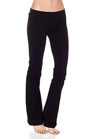 Black Ladies Fold-Over Waist Flared Legs Yoga Pants
