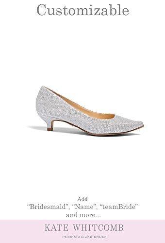 "fd59b6cb43ab Amazon.com  Wedding Shoes Low Heel -""Patent-Pending"" personalization - Silver  wedding pumps - Style Kim  Handmade"
