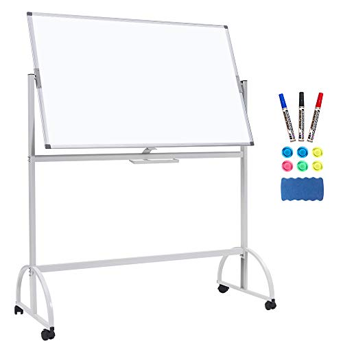 - Mobile White Board, Large Rolling Whiteboard Double Sided Mobile Whiteboard Magnetic Dry Erase Board Aluminum Frame Standing Whiteboard on Wheels 45 x 34 inches