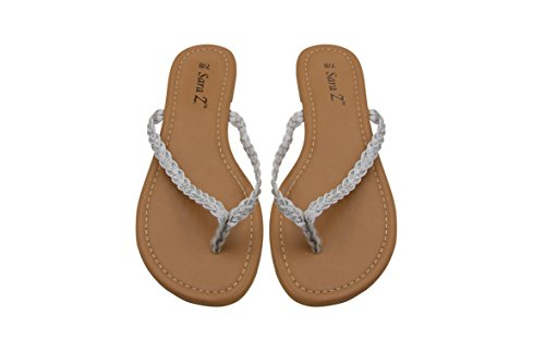 Old Navy Wedge Flip Flops (Sara Z Womens Braided Glitter Strap Flip Flop Thong Sandal Size 9/10 White/Silver)