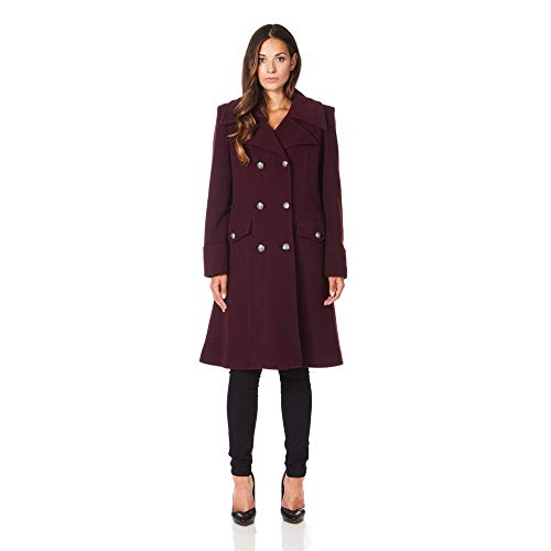 La Winter Women`s Burgandy Creme Wool Coat Military De Cashmere wYaqwd