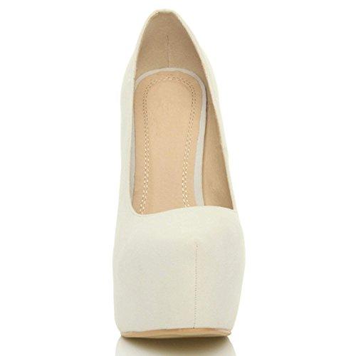 Damen Sehr Hoher Absatz Verdeckter Plateausohle Party Pumps Schuhe Größe Gebrochen Weißen Wildleder