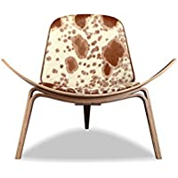 Kardiel Tripod Plywood Modern Lounge Chair, Brown & White Cowhide/Walnut