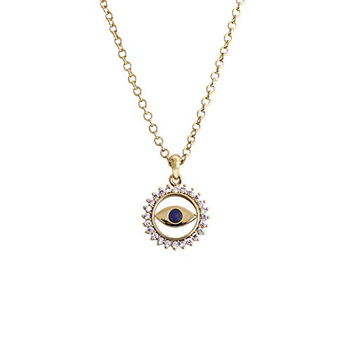 Obidos Blue Evil Eye Pendant Necklace Lucky Jewelry Gold Plated Chain for Women Girls Valentine's Day Party Special Days