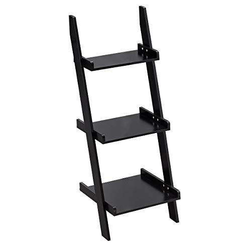 Giantex Ladder Shelf 3-Tier Wall-Leaning Bookshelf Ladder Bookcase Storage Display Shelf for Home and Office, Multipurpose Plant Flower Stand Shelf, Black ()