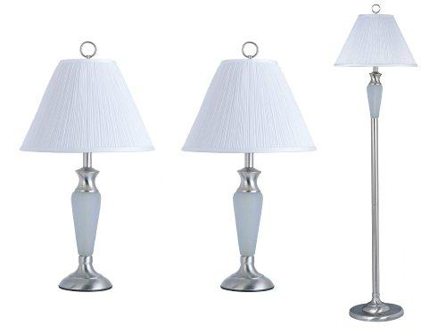 Park Madison Lighting PMT-1803-16 Lamp Set, Satin Nickel Finish with Forested Crackle (Crackle Finish Set)