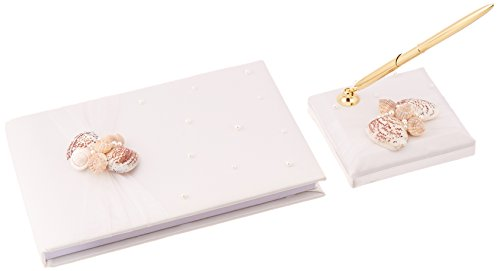 Lillian Rose 8-Inch by 6-Inch Seaside Guest Book with 3.75-Inch Pen Set