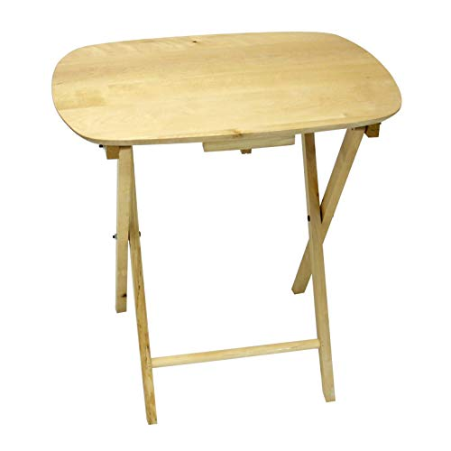 - eHemco Oversized Folding Tv Tray Tv Table - Solid Hard Wood in Natural