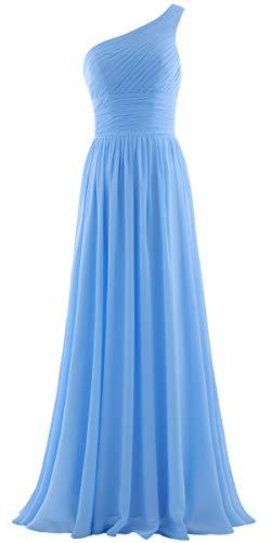 ANTS Women's Pleat Chiffon One Shoulder Bridesmaid Dresses Long Evening Gown Size 18W US Pale Blue