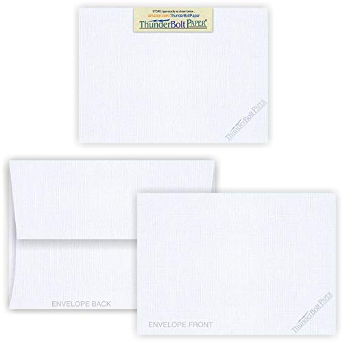 4X6 Blank Cards with A-6 Envelopes - White Linen - 50 Sets - Matching Pack - Invitations, Greeting, Thank You, Notes, Holidays, Weddings, Birthdays, ()