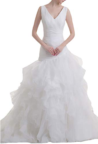 JOYNO BRIDE Organza Flower V Neck Court Train Tiered Wedding Dresses(22,Ivory)