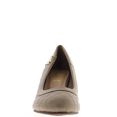 ChaussMoi Chaussures Femme Compensées Taupe Talon de 6cm Effet Matelassé