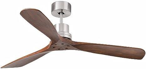 Faro Barcelona 33370 - LANTAU Ventilador de techo sin luz, motor de acero y palas de madera nogal oscuro