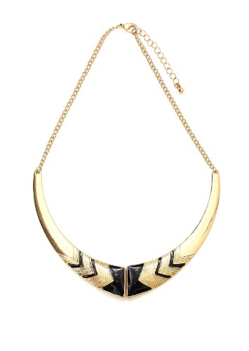 Magic Metal Black Chevron Collar Choker Necklace Zigzag Vintage Gold Tone Gorget Pendant Plate NN03 Fashion Jewelry