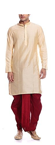 Dhoti Kurta (MAG Men's Handmade Ethnic Traditional Wedding Silk Kurta Pyjama Set - Light Gold Kurta and Red Dhoti 38