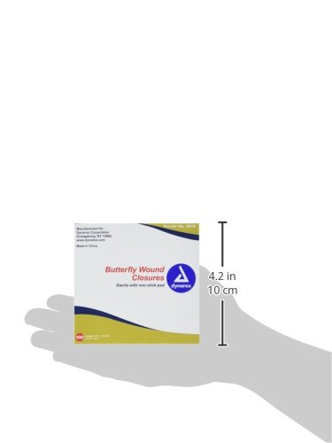 Dynarex Butterfly Wound Closure Sterile, 1/2 x 2 3/4 Inch, 24 Count