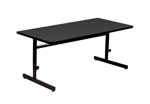 Correll CSA2436-07 Adjustable Height School/Office/Computer and Training Table, High Pressure Laminate Top, 24'' x 36'', Black Granite by Correll