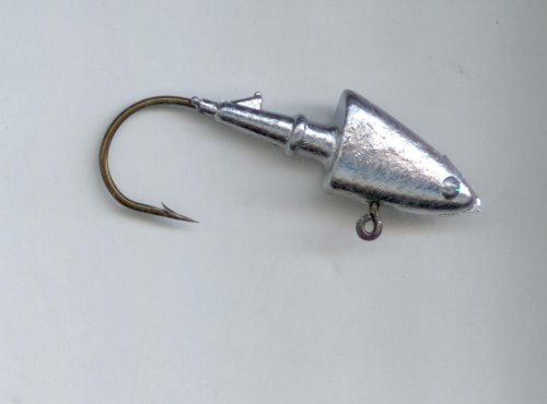 SHAD HEAD JIGS HAND POURED 3/8oz X #2/0 HEAVY GAGE WIRE HOOK (10 per pack)
