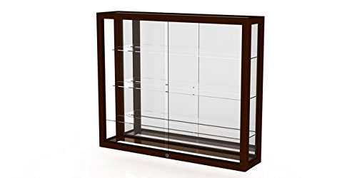 Waddell 890M-MB-C Heirloom 36 x 30 x 8 in. Wall Case with Hardwood 3 Shelves44; Mirror Back - Cordovan