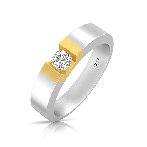 14K Gold with 0.32 Carats Glowing crown couple solitaire ring for him - RM1302 ()