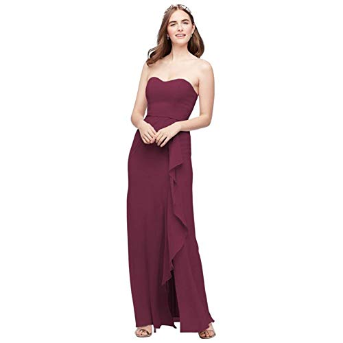Pleated Strapless Bridesmaid Dress with Cascade Style F20013, Wine, 10