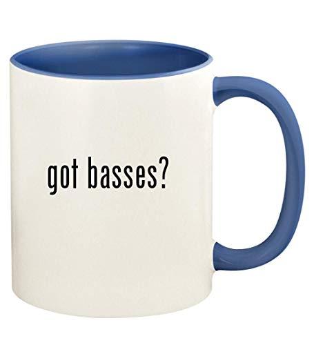 got basses? - 11oz Ceramic Colored Handle and Inside Coffee Mug Cup, Cambridge Blue