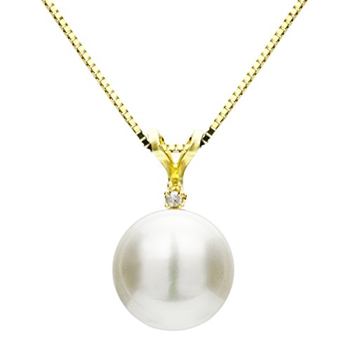 14k Yellow Gold 1/100cttw Diamond 9-9.5mm White Button Shape Freshwater Cultured Pearl Bunny (Diamond White Gold Freshwater Necklace)