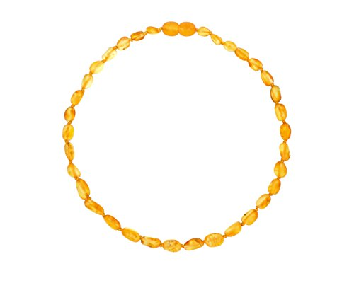 Raw Baltic Amber Teething Necklaces For Babies (Unisex) (Honey Olive) - Anti Flammatory, Drooling & Teething Pain Reduce Properties - Natural Certificated with the Highest Quality Guaranteed.