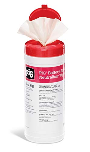 (Battery Acid Cleaner and Neutralizer Wipes by New Pig - 30 Count)