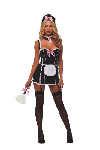 Starline Women's Sexy Parisian Maid 5 Piece Costume Set with Duster, Black/White, X-Large (5 Maid Costume Piece)