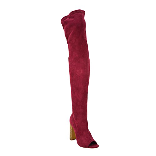 Olivia Jaymes Women Over The Knee Boots Thigh high Open Toe Chunky Block Heel Boots (10, ()