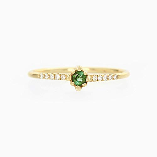 - Green Tourmaline Diamond Half Eternity Ring, 14K Solid Gold Ring, Stone Ring, Half Eternity Ring, Unique Ring, Diamond Stud Ring Stone Ring