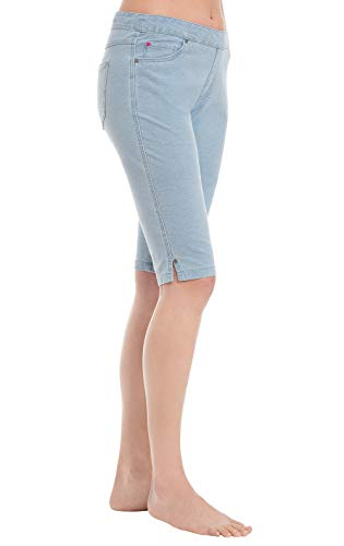 PajamaJeans Pedal Pushers for Women - Womens Denim Shorts, Clearwater, S / 4-6