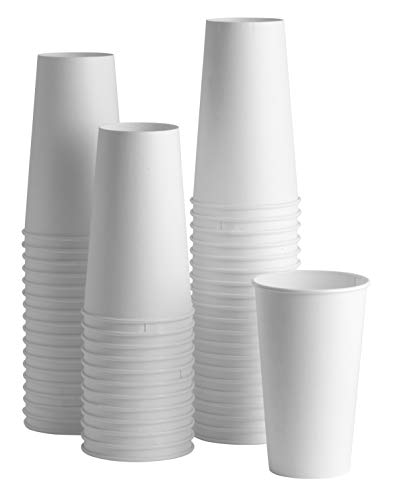 20 oz. White Paper Hot Cups [100 Pack] Coffee & Tea - 20 Ounce Beverage