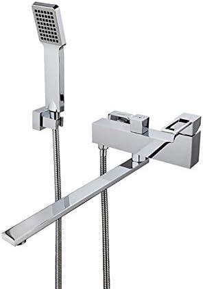 クローム浴槽の蛇口真鍮の浴室の浴槽の蛇口シングルハンドルホットとコールド水シャワーの蛇口セット壁掛けバスタブハンドヘルドシャワー